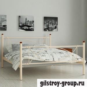 Кровать металлическая Мадера Роуз, 140х200 см, основа - металлические трубки, бежевая
