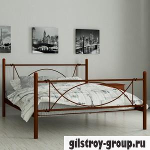 Кровать металлическая Мадера Роуз, 140х200 см, основа - металлические трубки, коричневая