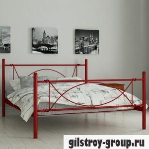 Кровать металлическая Мадера Роуз, 140х200 см, основа - металлические трубки, красная