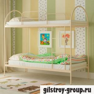 Кровать металлическая Мадера Сеона, 90х200 см, основа - деревянные ламели, бежевая