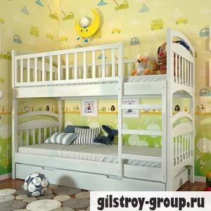 Кровать Arbor Drev Смайл, 80х190 см, сосна, 2 ящика (каркас ДСП, фасад -дерево), белый