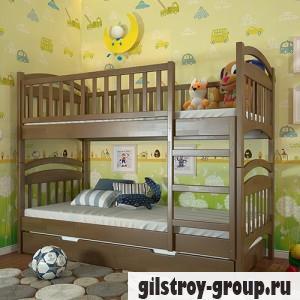 Кровать Arbor Drev Смайл, 80х190 см, сосна, 2 ящика (каркас ДСП, фасад -дерево), орех