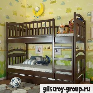 Кровать Arbor Drev Смайл, 80х190 см, сосна, 2 ящика (каркас ДСП, фасад -дерево), темный орех