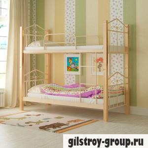 Кровать металлическая Мадера Тиара, 90х200 см, основа - деревянные ламели, бежевая