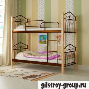 Кровать металлическая Мадера Тиара, 90х200 см, основа - деревянные ламели, коричневая