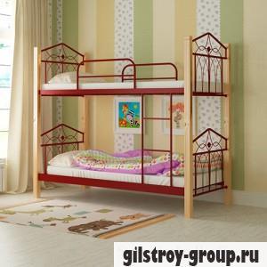 Кровать металлическая Мадера Тиара, 90х200 см, основа - деревянные ламели, красная