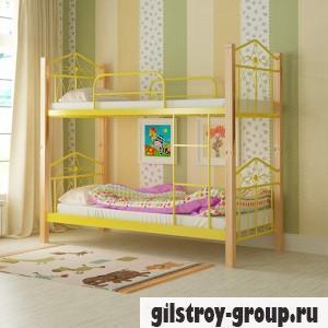 Кровать металлическая Мадера Тиара, 90х200 см, основа - деревянные ламели, желтая