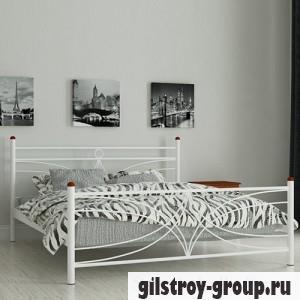 Кровать металлическая Мадера Тиффани, 90х200 см, основа - деревянные ламели, белая