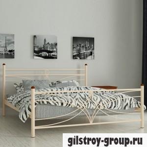 Кровать металлическая Мадера Тиффани, 160х190 см, основа - деревянные ламели, бежевая