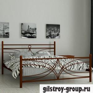 Кровать металлическая Мадера Тиффани, 160х190 см, основа - деревянные ламели, коричневая