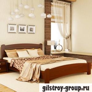 Кровать Эстелла Венеция Люкс, 140х200 см, массив бук, 101 темный орех