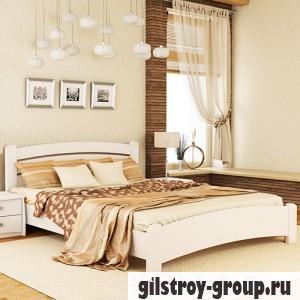 Кровать Эстелла Венеция Люкс, 140х200 см, щит бук, 107 белый