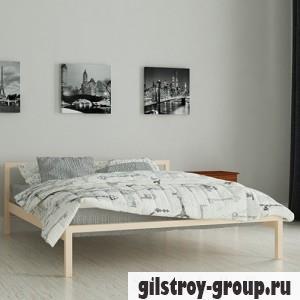 Кровать металлическая Мадера Вента, 80х190 см, основа - деревянные ламели, бежевая