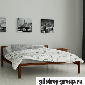 Кровать металлическая Мадера Вента, 120х200 см, основа - металлические трубки, коричневая