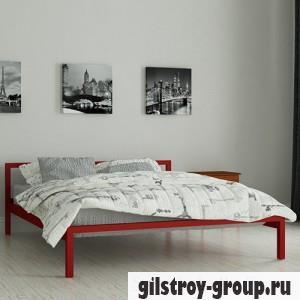 Кровать металлическая Мадера Вента, 120х200 см, основа - металлические трубки, красная