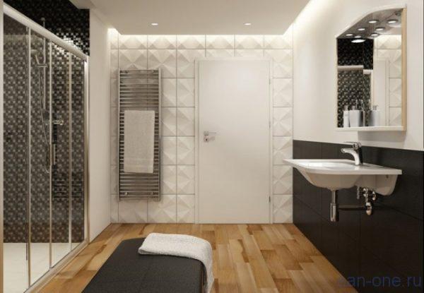 Сучасний інтер'єр ванної кімнати - мінімум меблів, витончена лаконічна сантехніка